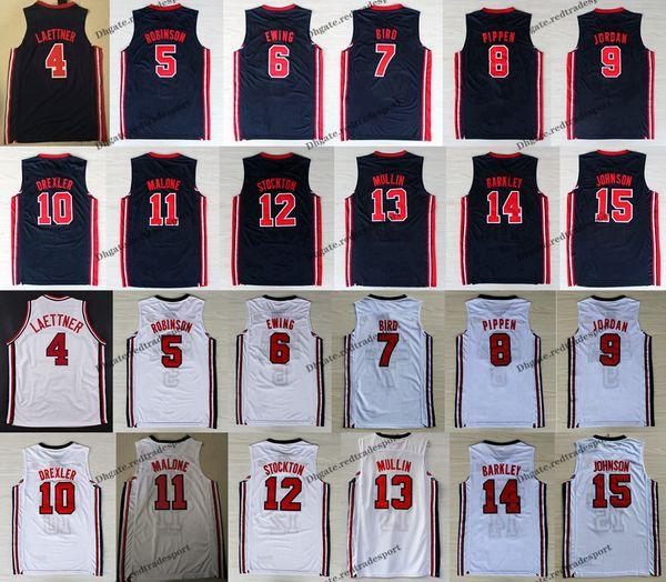 1992: Team One USA Dream - Larry Bird - Michael J Ewing - Pippen Mullin Robinson - Drexler - Laettner - Stockton - Malone Johnson - Maillot de basket-ball Barkley