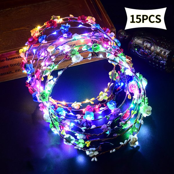 LED Luminous Toys Flower Headband Girls Garland Headdress Rattan Head Hair Accessories for Baby,Kids,Child,Adult Party Supply