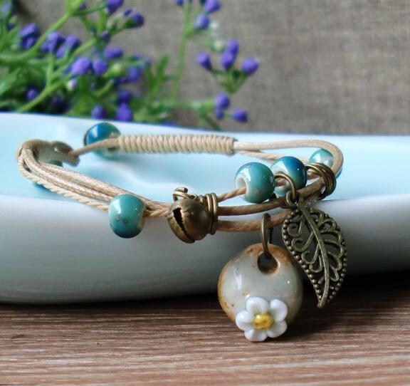Fashionable small fresh literary model Bracelet Hand Kneaded Ceramic Bracelet W610