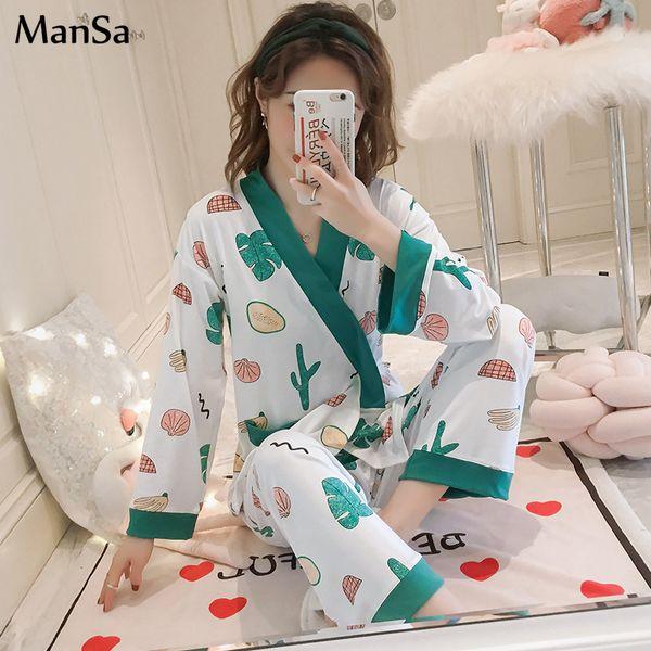 Conjunto de pijamas de manga larga de primavera Elegante conjunto de dos piezas de pijamas Mujer Ropa de dormir Ropa de dormir sexy para mujer pijama mujer Pantalón largo