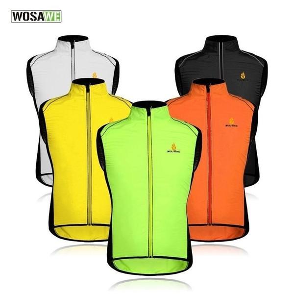 Wosawe Radfahren Sportswear Männer Trikots Reflektierende Kleidung Wind Mantel Atmungsaktive Fahrradjacke Fahrrad Zyklus Ärmellose Weste 5 Farben