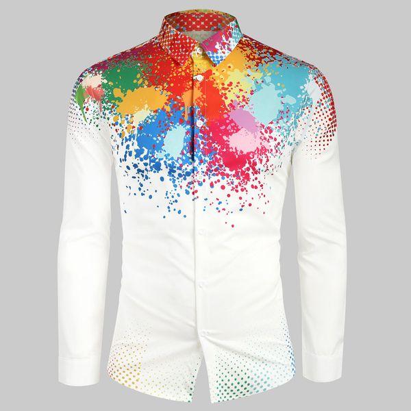 Camisas Casual Black White Men Shirts Outono E Inverno Casual manga comprida Tops solto moda Blusa #PYS