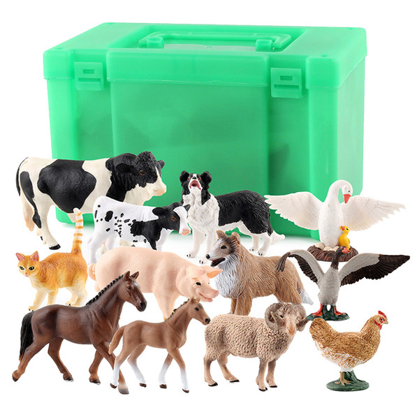 top popular 12 Pieces Assorted Realistic Plastic Painted Farm Animal Model, Horse, Cow, Sheep, Duck and Swan 2021