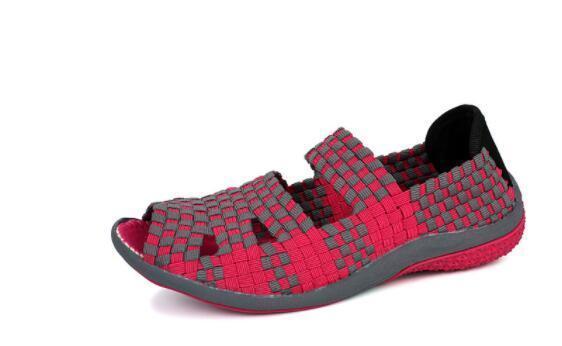 дешевые оптовые EOFK лета дышащий Женщины Мокасины Woven Обувь ручной работы Упругие Тканые Плоский скольжения на блестящей зеленый нейлон обувь Женщина
