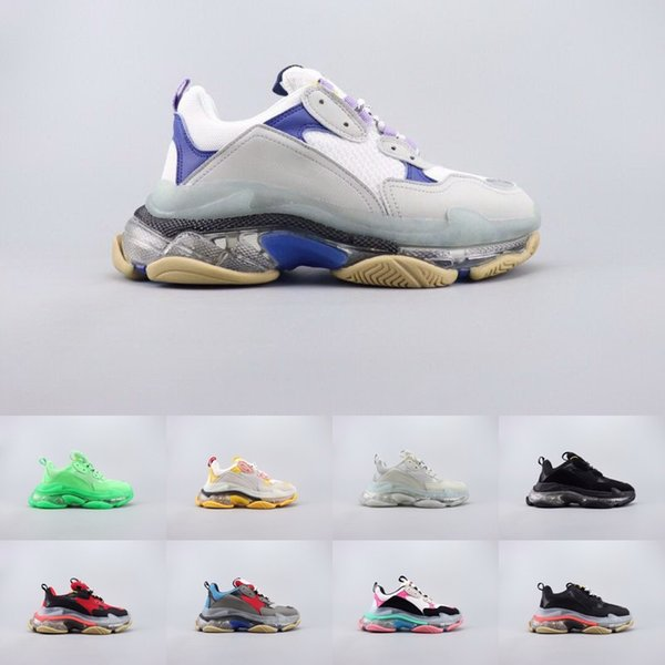 2019 Moda Tasarımcısı Balanciaga Erkekler Kadınlar Rahat Ayakkabılar Sneakers Yastık Üçlü S 3.0 Kombinasyonu Azot Taban Kristal Alt Baba Rahat