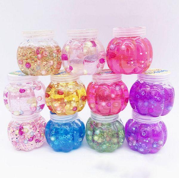 Kürbisflasche Schleim Perle Kristall DIY Gelee Schlamm Ton Knetmasse Transparent Schlamm Kind Hand Spielzeug Stressabbau Ton Kunststoff Box B11