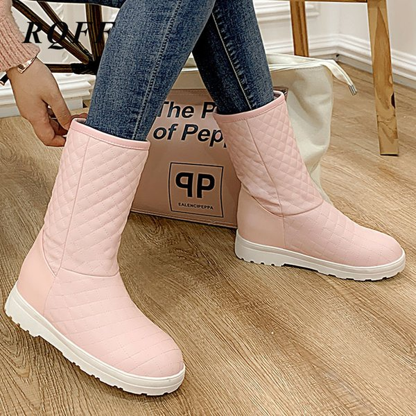 pink winter ankle snow boots women fashion flat with med heels shoes woman fashion solid black white platform boot plus big size