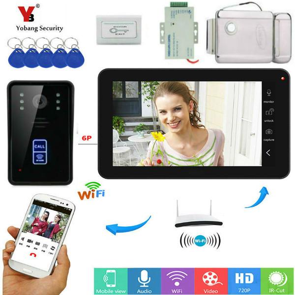 Moniteur de 9 pouces Interphone vidéo RFID Wifi Vidéo sans fil Porte Téléphone Caméra de sonnette Interphone Système avec serrure de porte d'alimentation