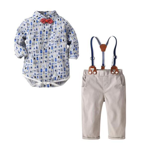 2019 New Kids'Dress Boys 'Gentlemen's Suit Primavera y otoño Gentlemen's Long Sleeve Hackshirt Necktie Cinturón y pantalones Cuatro trajes Best