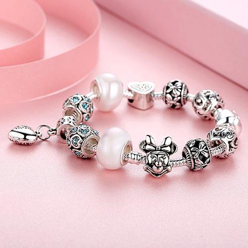 USpecial Gümüş Kalp Charm Bilezikler Kadınlar için Murano Ile Kristal / Cam Boncuk Kelebek Boncuk Bilezik Orijinal Takı Noel Hediyesi