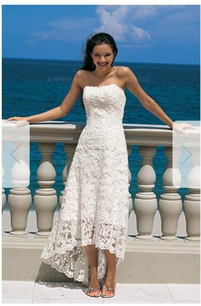 Sheath/Column Strapless High Low Hem Asymmetrical Lace Wedding Dress