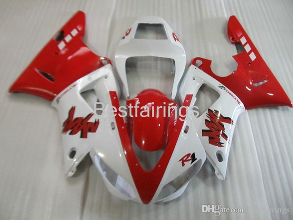 ZXMOTOR 7 gifts fairing kit for YAMAHA R1 1998 1999 white red fairings YZF R1 98 99 BS24