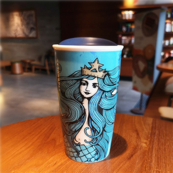 Authentic Starbucks Deep Sea Mermaid Goddess Coffee Cup 2018 Anniversary Blue Double Ceramic Mug 355ml With Cover Pictures On Coffee Mugs Pictures On