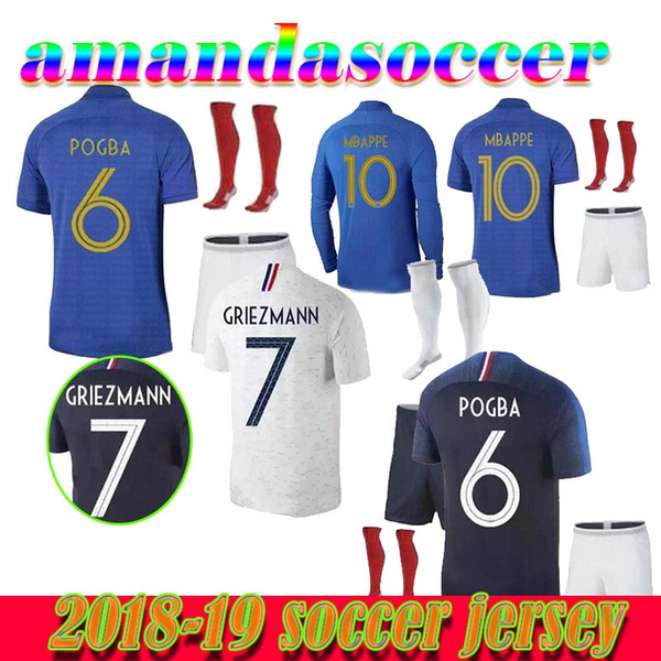 New 100 years MBAPPE Griezmann French soccer jersey POGBA KANTE 1919 2019 DEMBELE GIROUD MATUIDI adult kit 100th football shirt