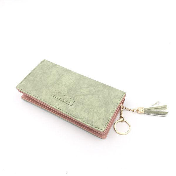 PU Leather Multicolor Bri-fold Long Women Lady Fasion Wallet with Coin Pocket and Tassel