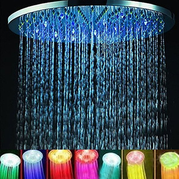 "7 Colors Automatic Changing 8"" Round Bathroom LED Light Rain Top Shower Head ABS Bathroom Product Home Improvement Shower Head"