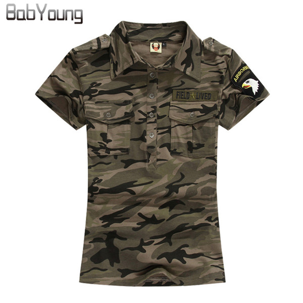 Babyoung Summer Casual Polo Feminina Women Tops Camouflage Army Cotton Shirts Polo Femme Polos Mujer Short Sleeve Shirt M~5xl Q190426
