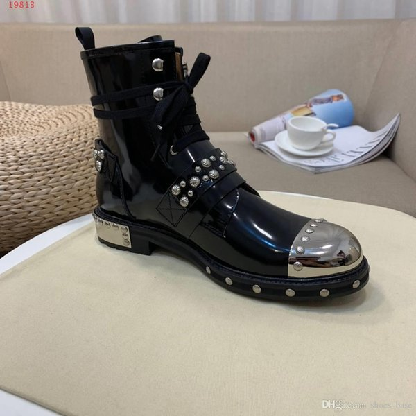 Exclusive recommendation imported leather and metal perfect splicing Punk elements Men's fashion short motorcycle boots