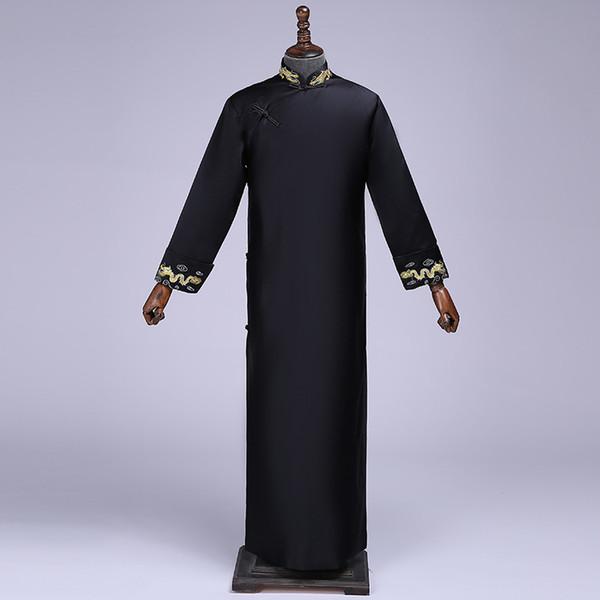 Black Best Man Chinese Long Dress Wedding Cheongsam Vintage Oriental Bridegroom Dresses Long Evening Gowns Men Size S M L XL XXL