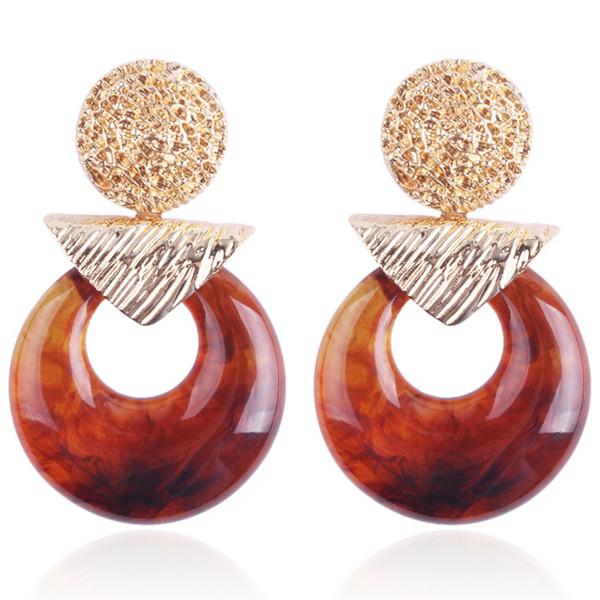 Vintage acrylique rond boucles d'oreilles personnalité alliage pendentif boucles d'oreilles femme ornement bijoux