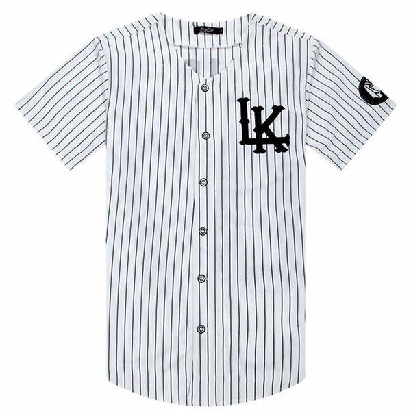 2018-2019 Hombres vendidos calientes Camisetas Moda Streetwear Hip Hop Béisbol Jersey Camisa a rayas Hombres Ropa Tyga Last Kings ropa Y19050902