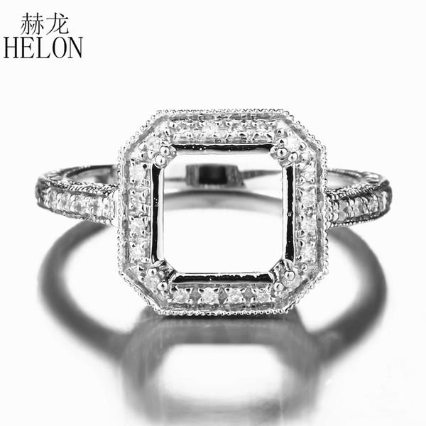 HELON 8x8mm Corte Sólido Sólido 10k Oro Blanco 0.2ct Genuino Natural Compromiso de Diamantes Bodas Joyería Única Anillo de Montaje Semi