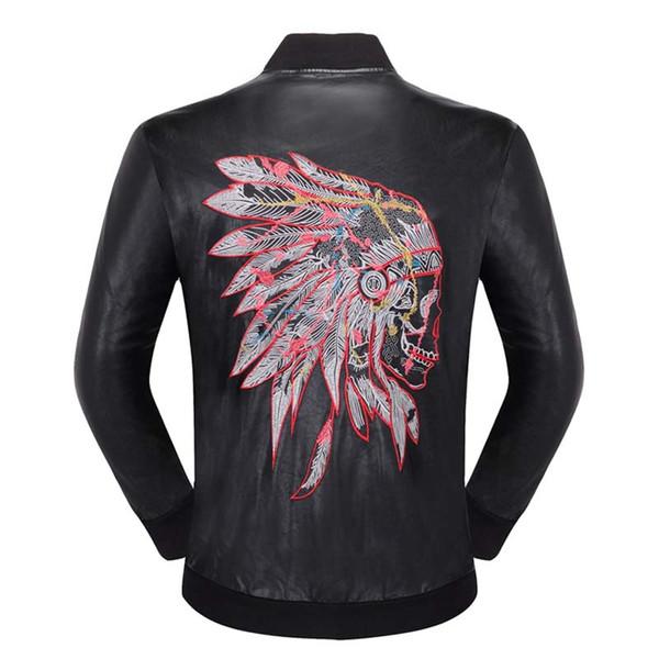2018 famoso marchio mens faux fur cappotti moda pilota moto importati pp cranio giacca di pelle uomini slim fit