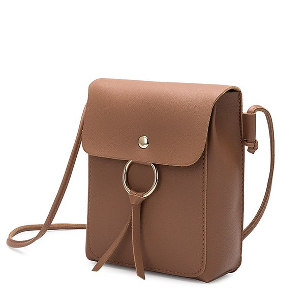 Cheap FashionSimple Women Hanging Ring Tassel Shoulder Bag for Women PU Leather Handbags High Quality Mini Small Crossbody Bag Phone Bag QF