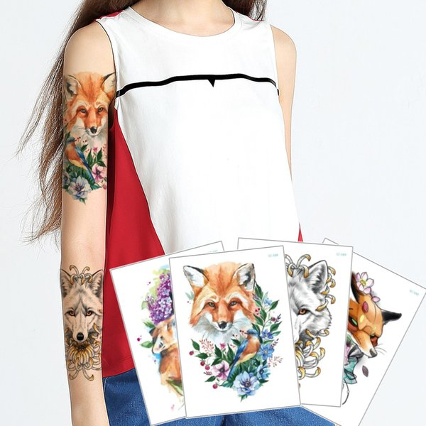 Watercolored Drawing Personalize Temporary Tattoo for Cool Woman Man Fox Flower Decal Fashion Waterproof Body Tattoos Sticker Transfer Paper