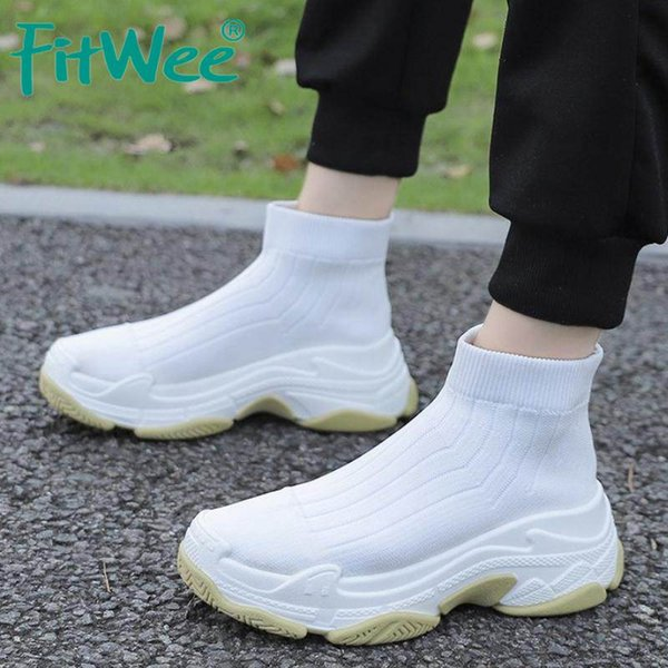 fitwee women ankle boots knitted sneakers women shoes casual round toe flats high winter autumn boots size 36-40 - from $22.97