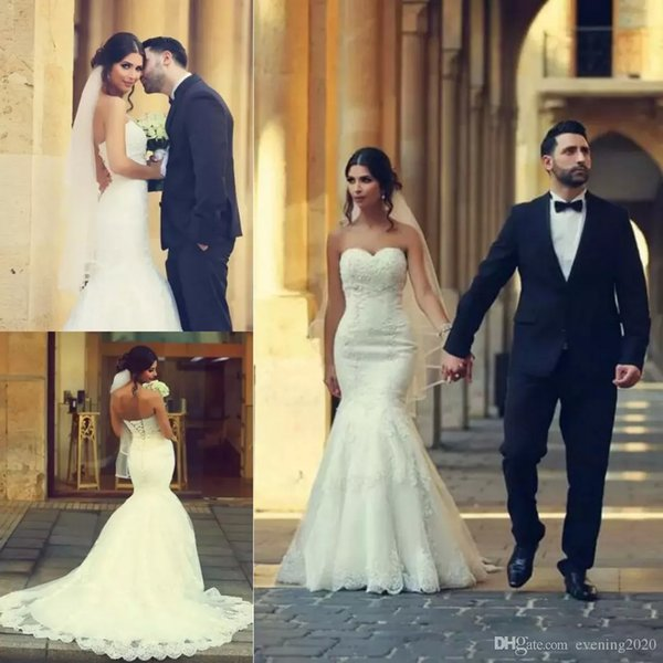 2018 Sweetheart Neckline Lace Sexy Mermaid Wedding Dresses with Lace Appliques Lace up Back Sleeveless Top Quality Bridal Wedding Gowns