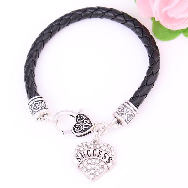 Huilin Jewelry Bestes Geschenkprodukt SUCCESS GRANDMA Brief Herz Mode europäischen Charme schwarz Leder Armband für Geschenk