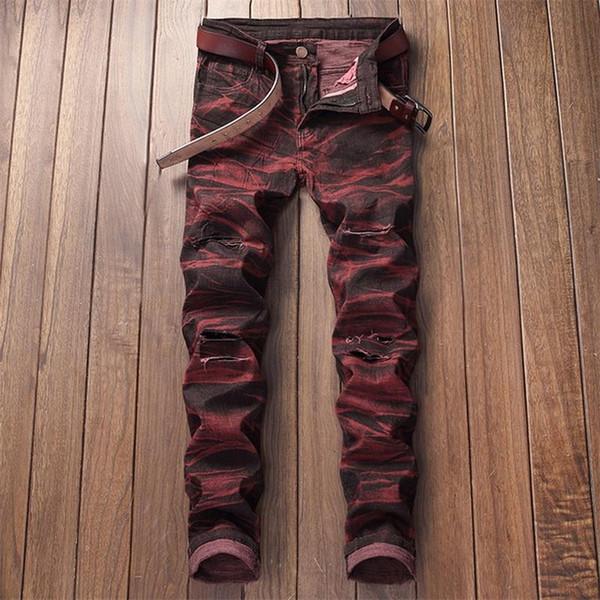 Nueva moda Jeans Ripped Men Impresión en color Jeans estilo europeo y americano Hombres 134 #