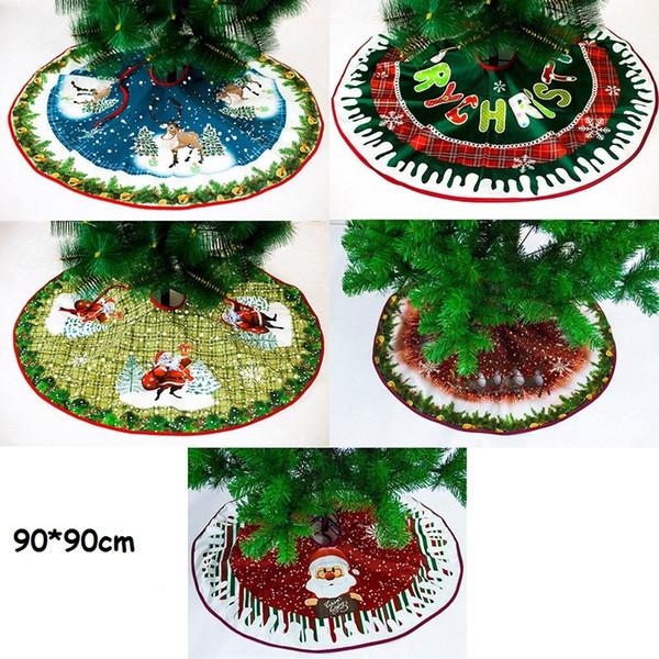 Christmas Tree Skirt Nonwoven Fabric Santa Clause Tree Skirt Foldable Christmas Trees Decorations 90cm Tree Skirts