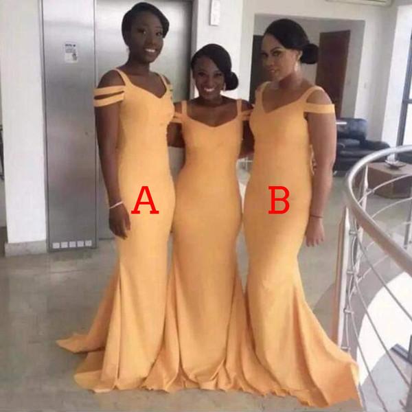 Mermaid Bridesmaid Dresses Floor Length Satin Two Styles Wedding Guest Dresses Maid Of Honor Gowns Vestidos de damas de honor DB082