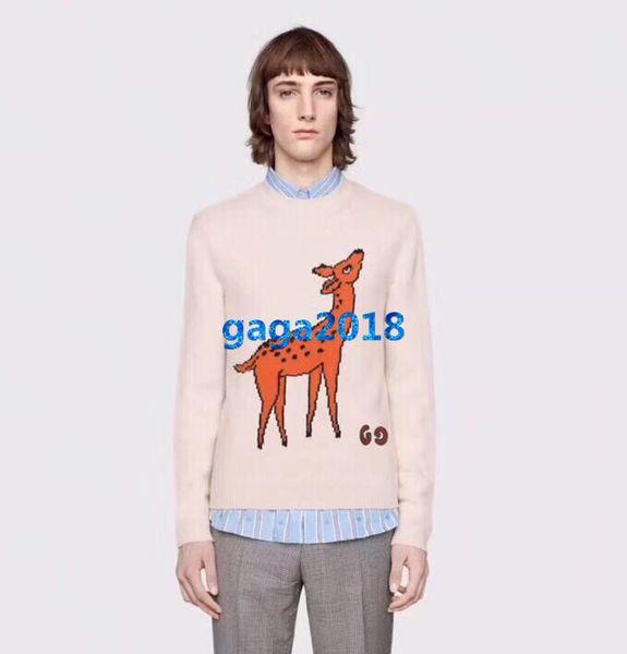 high end women girls wool knitted sweater deer patch stretch viscose crew neck sweatshirt long sleeve blouse shirt fashion design luxury top