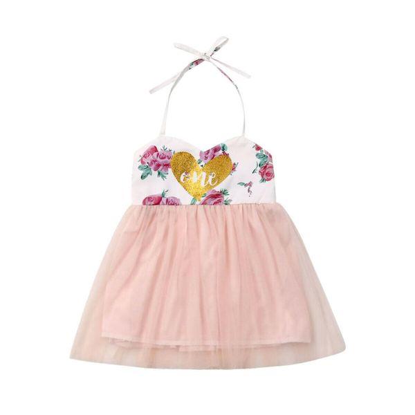 Bebé 1er cumpleaños vestido floral traje corazón tutus para niñas Cake Smash vestidos de encaje de flores tutu vestido de princesa fiesta de cumpleaños
