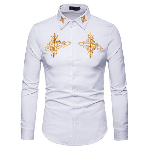 Embroidery Printed Man Shirt Turn-down Collar Loose Tops Big Size Noble Style Male Blusa Gentleman Dinner Shirts Elegant Costume