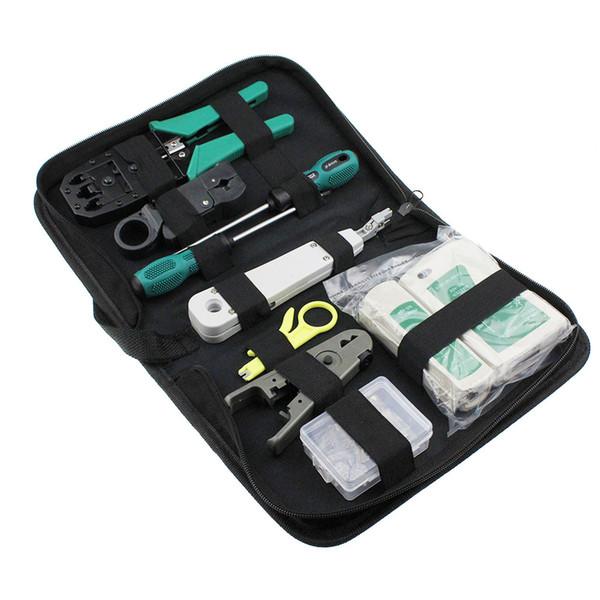 8 pçs / set RJ45 RJ11 RJ12 CAT5e Portátil LAN Ferramenta de Reparo Da Rede Kit Utp Cable Tester E Alicate Crimp Crimp Plug Braçadeira PC