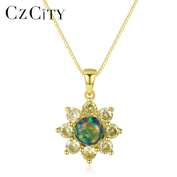 CZCITY 925 Sterling Silver Sun Flower Design Opal Pendant Necklace for Women Yellow Gold Silver Chain Necklace Jewelry Gift 2018