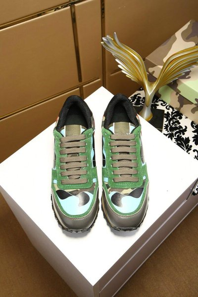 2018 High Quality Casual Shoe For Woman Fashion Camouflage Couples Shoes Mens Casual Leather Shoe Spike Rivet Cheap Sneaker 35-46 72401