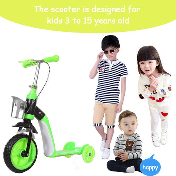 2 in 1 bambini bambino Scooter auto bambini bici bambino multifunzione triciclo con 3 ruote stand sedile pieghevole