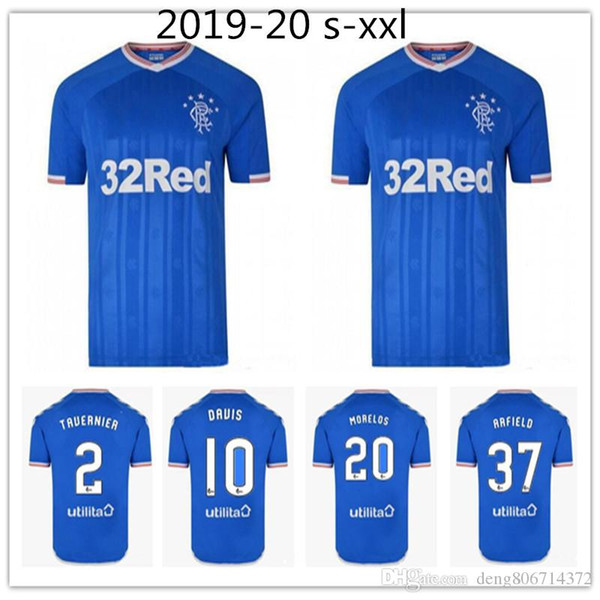 new Thai quality 2019 2020 Glasgow Rangers FC Home Blue TAVERNIER Soccer Jerseys 19 20 Rangers MURPHY FC Football Shirt