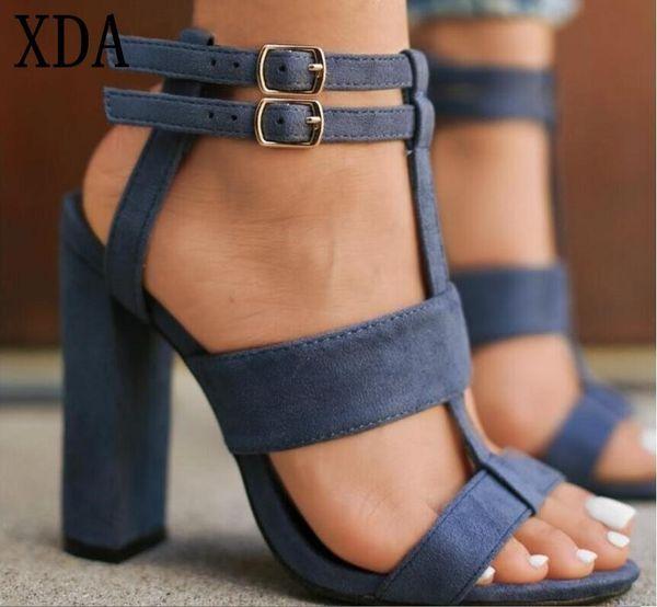Designer Dress Shoes XDA new Sexy Suede Women round head High Heel sandals Roman buckles Fashion Summer Party Femme W739