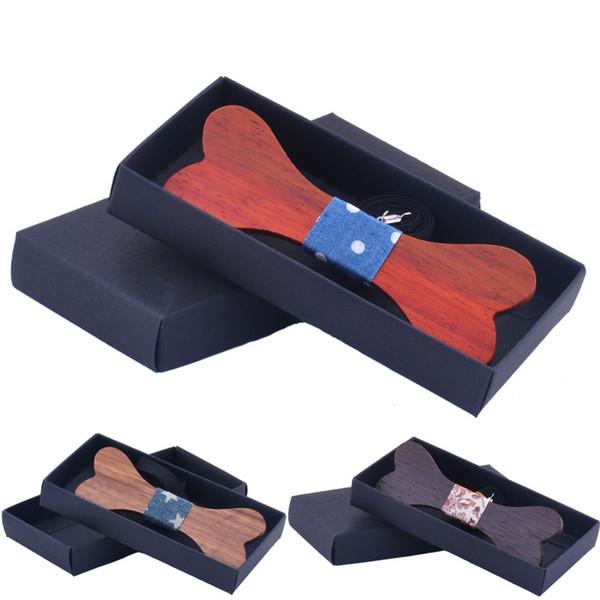 Maxi alta qualidade colar gravata gravata borboleta arco gravata borboleta osso madeira feitos à mão dos homens ajustável amarrar presentes especiais com a caixa, para o presente de aniversário