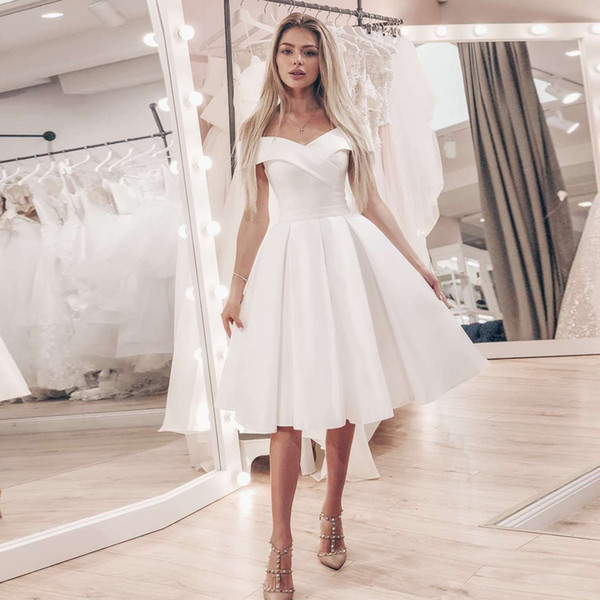 Discount Cheap Satin Short Wedding Reception Dress Simple Off The Shoulder  A Line Knee Length Bride Dresses Robe De Mariage Plus Size Bridal Lace