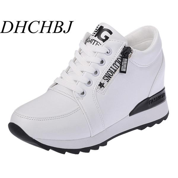 Yeni 2019 Sonbahar Siyah Beyaz Gizli Kama Topuklu Rahat Ayakkabılar Bahar kadın Asansör Yüksek topuklu Çizmeler Kadın Sneakers 6 cm Topuklu