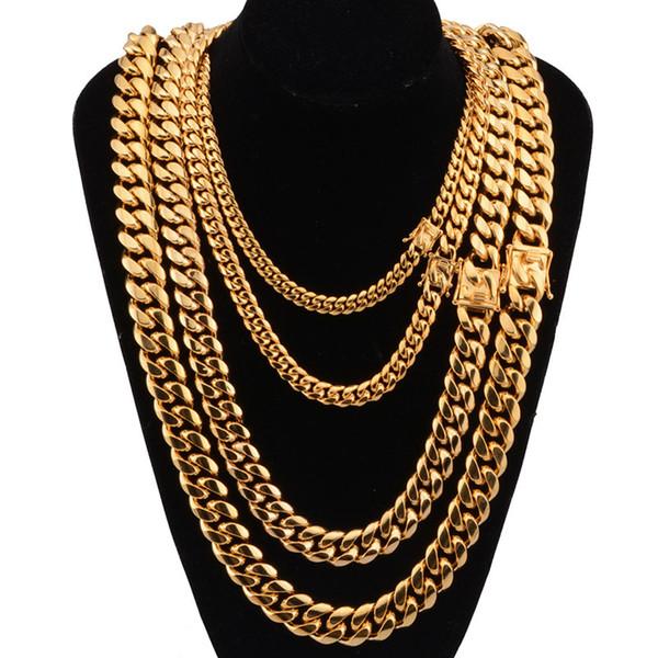 8/10/12/14 / 16мм шириной из нержавеющей стали кубинский Майами цепи ожерелья Big Heavy Gold Round Link Chain для мужчин Hip Hop Rock ювелирные изделия