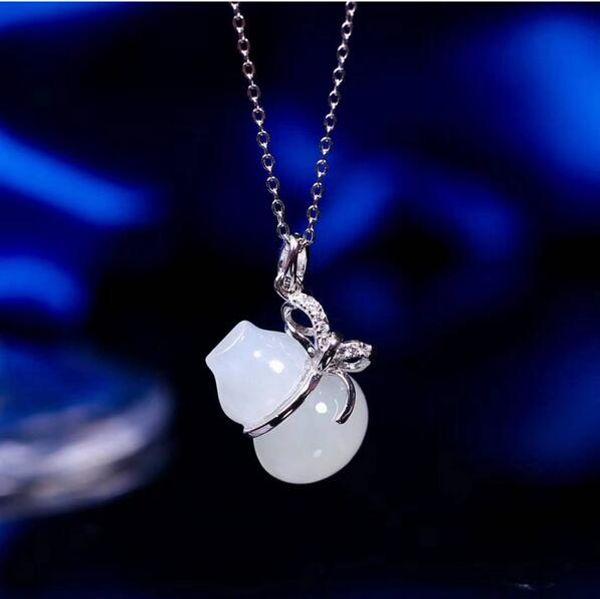 bijoux de boutique pendentif de jade hetian naturel, bijoux en argent 925 gros naturel hetian jade hulu