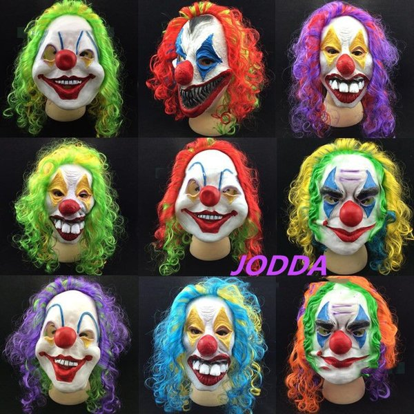 Halloween Scary Party Mask Latex Funny Clown Wry Face October Spirit Festival Emulsion Terror Masquerade Masks Children Adult